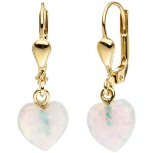 JOBO Ohrhänger Herz 333 Gold Gelbgold 2 Opale Ohrringe Goldohrringe Opalohrringe