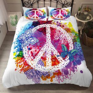 Boho Bettwäsche Set 200x200 Indishes Friedenszeichen Design Mandala Bohemian Style Bettbezug 100% Mikrofaser mit 2 Kissenbezug  50X75 cm Reißverschluss
