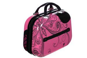 Birendy Reisekoffer Hardcase Trolley Koffer Kofferset 4 Rollen - A1 Pink Schmetterling, Farbe:A1-Pink Schmetterling, Größe:M - Beautycase 33x28 cm