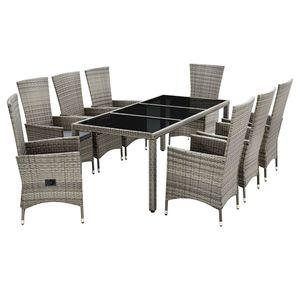 Juskys Polyrattan Sitzgruppe Rimini Plus 9-teilig & wetterfest – Gartenmöbel Set mit Tisch & 8 Stühle - Essgruppe für 8 Personen - beige mit grau