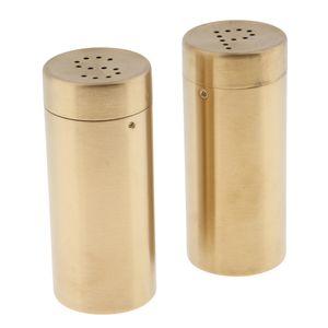 2 stücke edelstahl salz zucker pfefferstreuer gewürzdosen set gold Shaker 8,8X3,8 cm