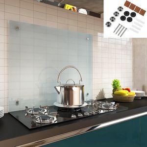 Melko Spritzschutz Herdblende aus Glas, für Küche, Herd, Fliesen, 6 mm ESG Sicherheitsglas, Küchenrückwand, inkl. Schrauben, 100 x 60 cm, Milchglas