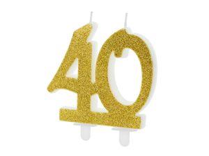 1 XL Geburtstagskerze Tortenkerze 40 Geburtstag ca 10 cm weiß gold