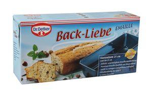 Dr. Oetker Kastenform 25 cm BACK-LIEBE EMAILLE, robuste Brotbackform mit schnitt- & kratzfester Emaille-Versiegelung, Kuchenform für saftige Kuchen und deftige Brote (Farbe: Blau), Menge: 1 Stück