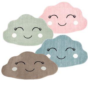 Kinderteppich Teppich Flachflor 100x150cm Pastell-Grün Fröhliche Wolke Wolkenform für das Kinderzimmer  Standard 100, Farbe:Pastell Grün