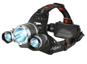 Stirnlampe 3 LED 3800Lm Wiederaufladbar Set 12V+220V 4 Modi Einzel+Blinkend 5868