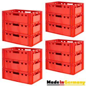 12 Stück E2 Fleischkisten Rot Kisten Eurobox Lebensmittelecht Metzgerkiste Box Aufbewahrungsbox Kunststoff Wanne Plastik Stapelbar Lagerkisten 60 x 40 Kingpower