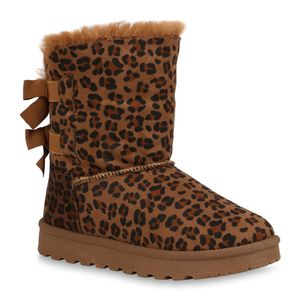Mytrendshoe Damen Stiefeletten Schlupfstiefeletten Winter Boots Warm Gefüttert 832508, Farbe: Hellbraun Schwarz Leo, Größe: 40