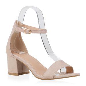 Mytrendshoe Damen Riemchensandaletten Klassische Sandaletten Blockabsatz Schuh 832445, Farbe: Nude, Größe: 39