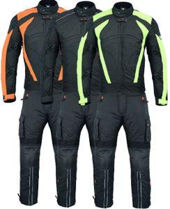 Motorradkombi Textilien motorradjacke + Motorradhose Schwarz, Grün & Orange inkl. alle Protektoren, Farbe:Grün, Größe:54/XL