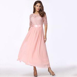 Frauen-Kleid-Spitze-Chiffon- halbe Huelsen-duennes Maxi-Kleid-elegantes Prinzessin-Abend-Partei One-Piece XL
