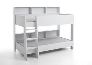 Relita Etagenbett SWAY mit 2 x Liegeflächen 90x200 cm, inkl. Bodenplatte und Regalen, Ausführung Spanplatte weiß Nachbildung