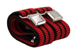 Fabio Farini 4 cm breiter Hosenträger Y Form für Herren verstellbare Länge, Hosenträger Farben:Rot mit schwarzen Streifen