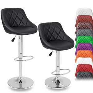 TRESKO 2er Set Barhocker Schwarz Barstuhl 360° Frei Drehbar Sitzhöhenverstellung 60-80cm