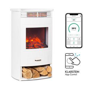 Klarstein Bormio Smart Elektrokamin  ,  950/1900W  ,  Thermostat  ,  Wochentimer  ,  OpenWindow Detection  ,  App-Steuerung  ,  verschiedene Flammeneffekte  ,  zuschaltbare Heizung  ,  Stauraum für Holzscheite  ,  weiß