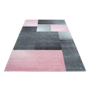 Kurzflor Design Teppich Rechteck Karo Muster Wohnzimmerteppich Grau Pink Meliert, Grösse:120x170 cm