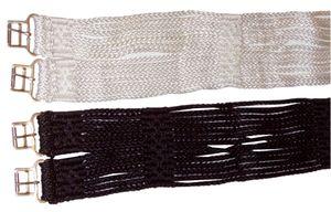 Sattelschnurengurt aus Nylon Sattelgurt für Pferde Schnurengurt 014/04, Farbe:weiss, Größe:115