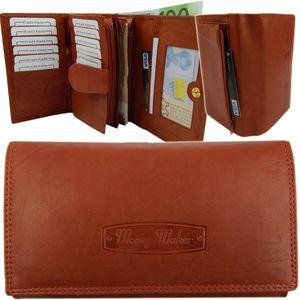 Damengeldbörse 25 Fächer weich Rindleder Portemonnaie RFID NFC Schutz Rust