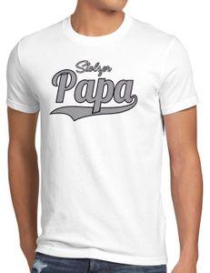 style3 Stolzer Papa Herren T-Shirt Vater Dad Spruchshirt Funshirt, Größe:XXL, Farbe:Weiß