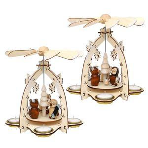 52 1629 Holz Teelichtpyramide mit Eulenfiguren SIGRO