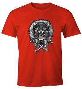 Herren T-Shirt - Indianer Häuptling Totenkopf Indian Skull - Comfort Fit MoonWorks®  XXL