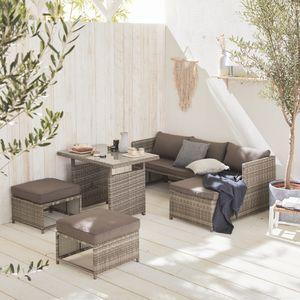 Gartenmöbel-Set für 6 Personen - Reggiano - Grautöne, grau melierte Kissen, Gartentisch mit Sofa, Chaiselongue und 2 verstaubaren Hockern