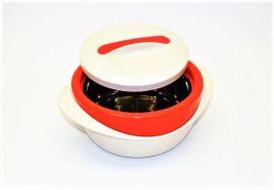 Thermobehälter 2,2 l mit Schraubdeckel Kunststoff/Edelstahleinsatz - beige/orange