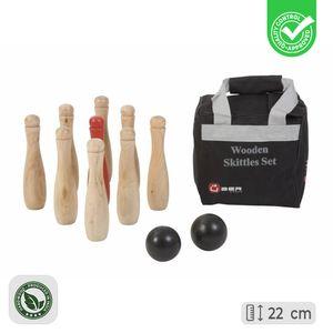Hölzernes Kegel Set / Bowling- Eco-Holz, In Stabiler Transporttasche Compleet en Luxe