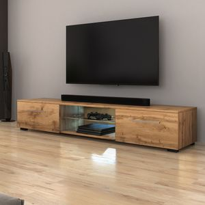 Selsey TV-Lowboard  SYVIS in Holzoptik Eiche Wotan Matt mit LED-Beleuchtung in Blau 140 cm