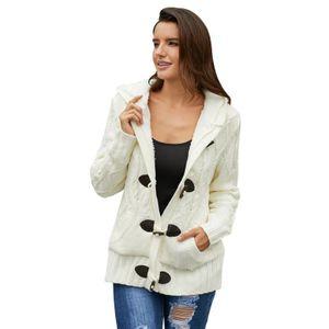 Strickjacke Cardigan Grobstrick mit Kapuze Zopfmuster gefüttert Outwear Langarm für Herbst Winter Gestrickt Winterjacke warm XL