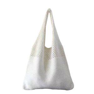 Mode Woven Womens Woven Handtasche Sommertasche Hohl Strick Tote Handgefertigte Damen Geldbörse für Strandparty Urlaub Farbe Weiß