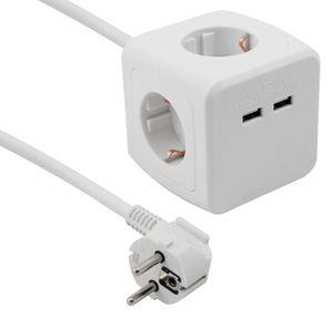 Steckdosen-Würfel McPower mit 4x Schutzkontakt Steckdose + 2x USB, 1,5m Zuleitung