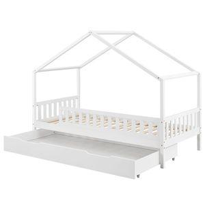 Juskys Kinderbett Yuki 90x200 cm mit Rausfallschutz, Bettkasten & Lattenrost – Holz Bett für Kinder weiß mit Dach –  Hausbett für Jungen & Mädchen