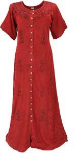 Besticktes Indisches Hippie Kleid - Rot, Damen, Viskose, Lange & Midi-Kleider