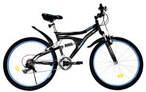 26 Zoll Kinder Jugend Jungen Mädchen Fahrrad Kinderfahrrad MTB Mountainbike Jugendfahrrad Bike Rad 21 Gang Beleuchtung STVO VOLLFEDERUNG Fully Schwarz Blau 4300