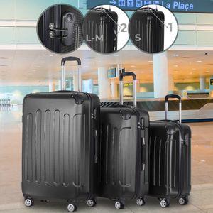 Vojagor® Koffer Trolley Set - Schwarz, 3 teilig groß mittelgroß klein, ABS Kunststoff, 4 Rollen, Hartschale, TSA-Schloss - Hartschalenkoffer, Reisekoffer, Kofferset, Gepäck