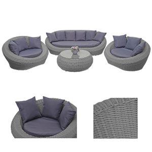 4-1-1 Poly Rattan Garnitur HWC-F88, Lounge-Set Sofa, halbrundes Rattan Alu-Gestell oval  grau, Kissen dunkelgrau