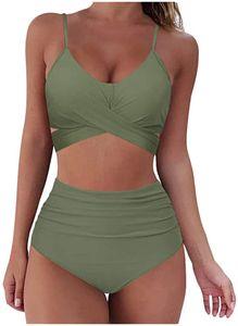 Bikini Damen Push Up Set Damen Bikini Set Bikini Panty High Cut Badeanzug High Waist Crossover Bademode Bikinihose y V Ausschnitt Sportlich Zweiteiliger Strandbikini(Grün)