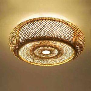 Deckenleuchte Deckenlampe Bambus Lampe XXL 50cm Holz gewebt Wohnzimmer Büro  Design Retro E27 Decken Hänge Lampe Retro Vintage Rattan Cafe Wohn-Zimmer Lüster Leuchte