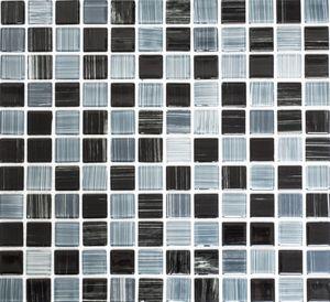 Mosaikfliese Transluzent strichschwarz weiß Glasmosaik Crystal strichschwarz weiß MOS64-0302_f | 10 Mosaikmatten