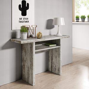 Selsey - Klapptisch / Konsolentisch LURDI Eckig in Holzoptik / Weiß Shabby Chic, Breite: 120 cm, Tiefe: 35 bis 70 cm