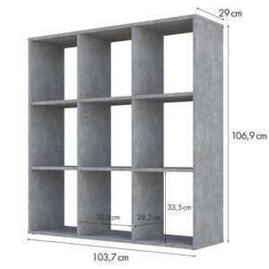 Polini Home Raumteiler Bücherregal Regal H 106,9 x B 103,7 x T 29 cm, 9 Fächer, Farbe Beton