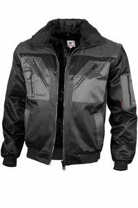 Qualitex Pilotenjacke zweifarbig Unisex 10004 schwarz/grau L Arbeitsjacke, Bundjacke Handwerker, Heimwerker, Outdoor, Strassenarbeiter