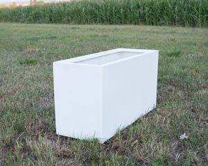 Pflanztrog Blumentrog Pflanzkübel Fiberglas 84x30x40cm perlmutt weiß