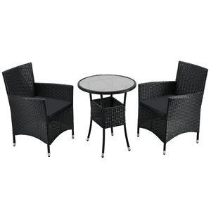 Juskys Polyrattan Balkon Set Bayamo 2 Personen – Tisch mit Glasplatte & 2 Stühlen – Wetterfeste Balkonmöbel – Auflagen waschbar – schwarz – grau