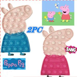 2PC Fidget Toy Pop it Push it, pop Bubble(Peppa Pig), entspannentes Anti Stress Spielzeug Sensorisches Spielzeug Autismus lindert Angstzustände für Kinder und Erwachsene