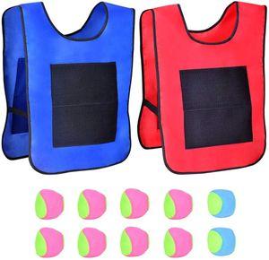 Klettballspiel 2 Zielwesten mit 10 Klettbälle Wurfspiel mit Klebejacke Klettball Weste Set für Kinder