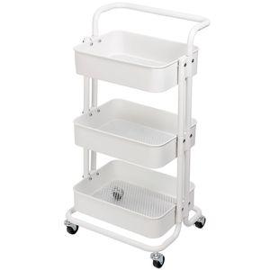 Küchentrolley Küchenwagen Rollwagen Servierwagen Metall für Küche Bad Büro Weiß Kingpower