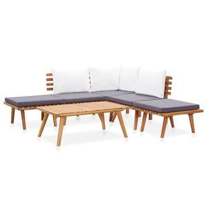 Balkonmöbel Set für 6 Personen, 6-TLG. Garten-Lounge-Set/Sitzgruppe/Gartengarnitur Massivholz Akazie☆3336