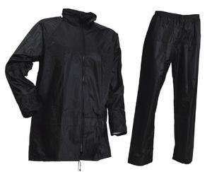 Regenjacke + Regenhose Regenset SCHWARZ Regenkleidung Regenbekleidung, Größe:M (50/52)
